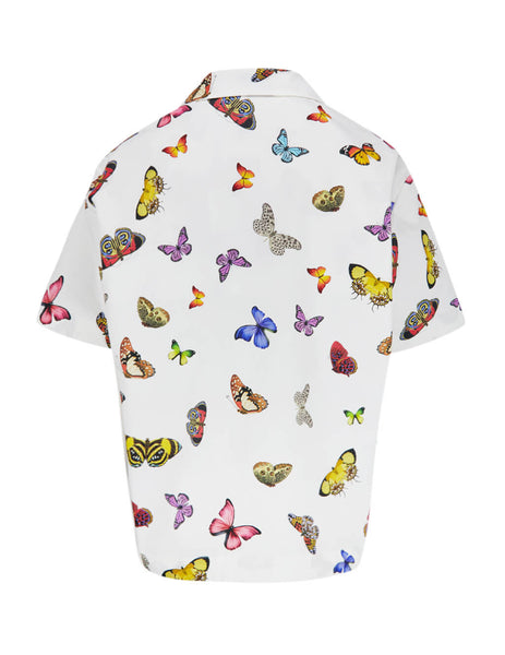 Palm Angels Men's Giulio Fashion White Butterflies Bowling Shirt PMGA037S207760210188