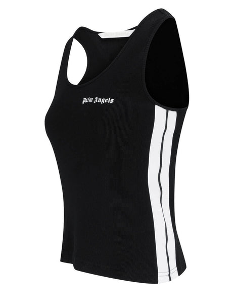 Women's Palm Angels Classic Logo Tank Top in Black/White - PWAC006S21JER0011001