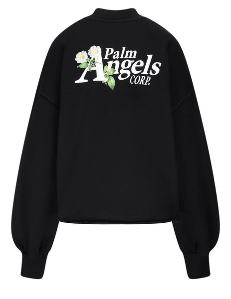 Women's Palm Angels Daisy Logo Sweatshirt in Black - PWBA024S21FLE0011001