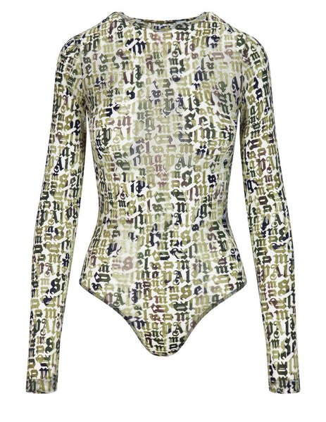 Women's Palm Angels Devore Camo Bodysuit in Military Green - PWDD012S21FAB0015655