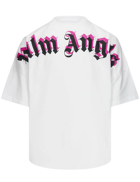 Men's Palm Angels Doubled Logo Oversized T-Shirt in White/Fuchsia - PMAA002S21JER0040132