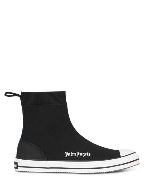 Men's Palm Angels Knitted Sock Vulcanized Sneakers in Black/White - PMIA062S21LEA0011001