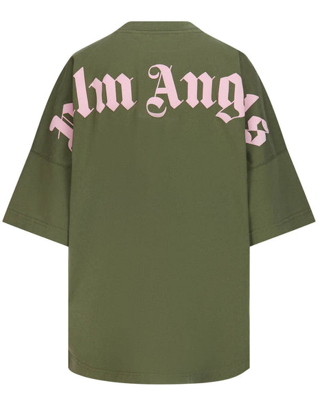 Women's Palm Angels Logo Print Oversized T-Shirt in Military Green/Pink - PWAA023S21JER0015630