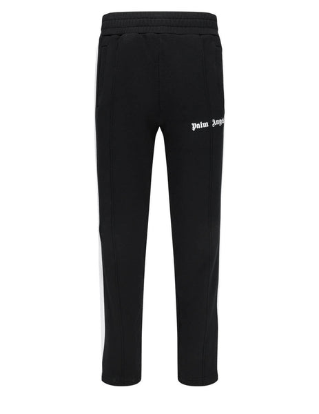 Men's Palm Angels Logo Print Cotton Track Pants in Black/White - PMCA007S21FAB0051001
