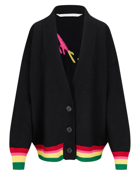 Women's Palm Angels Miami Needled Cardigan in Black/Multicolour - PWHB006S21KNI0031084