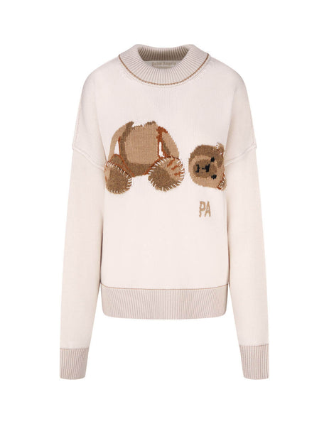 Women's Palm Angels Palm Bear Jumper in Off White - PWHE016F20KNI0010360