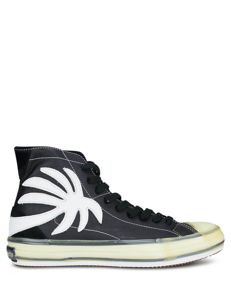 Men's Black Palm Angels High Top Sneakers with White Palm PMIA048E20LEA0011001