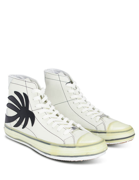 Men's White Palm Angels High Top Sneakers with Black Palm PMIA048E20LEA0010110