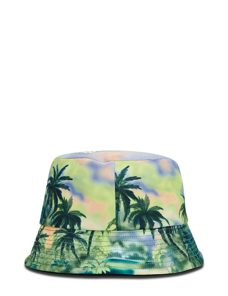 Men's Palm Angels Palm Tree Print Bucket Hat in Multicolour - PMLA012S21FAB0018484