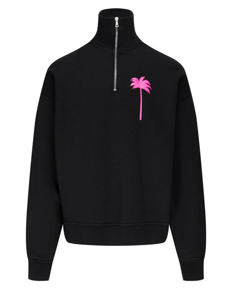 Men's Palm Angels Palm Tree Turtleneck Sweatshirt in Black/Fuchsia - PMBA044S21FLE0011032