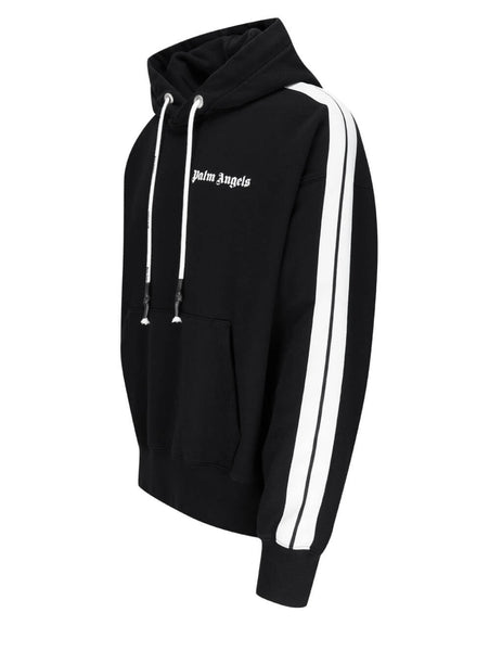 Men's Palm Angels Side Stripe Cotton Track Hoodie in Black/White - PMBB058S21FLE0091001