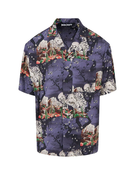 Palm Angels Men's Giulio Fashion Purple Skull Bowling Shirt PMGA037F20FAB0011084