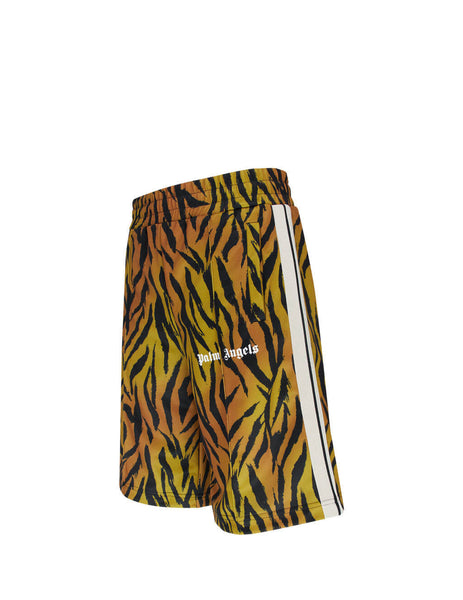 Men's Brown and White Palm Angels Tiger Track Shorts PMBB036E20FLE0023601