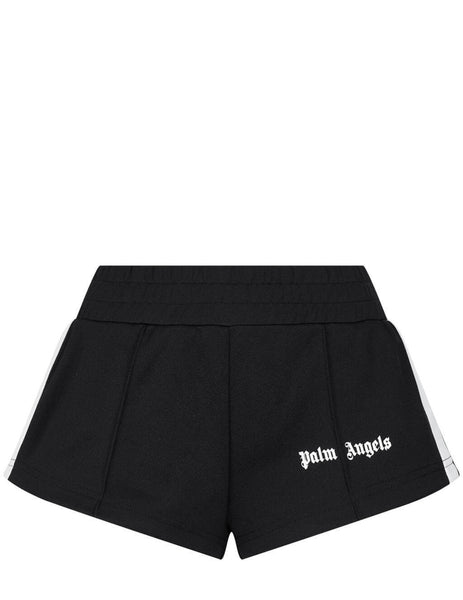 Women's Palm Angels Track Hot Shorts in Black/White - PWCB003S21FAB0011001