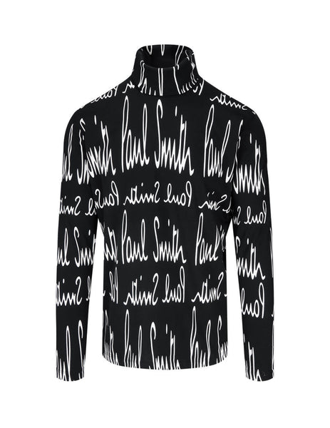 Men's Paul Smith Archive Print Roll Neck Top in Black - M1R-346U-EP2343-79
