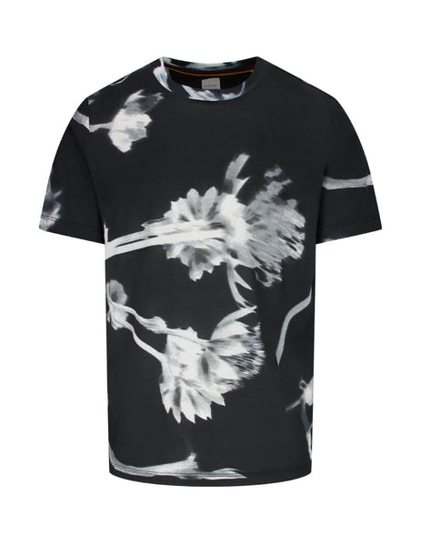 Paul Smith Men's Giulio Fashion Black 'Screen Floral' Print T-Shirt M1R-697P-AP1876-79