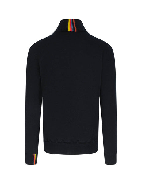 Men's Paul Smith Cuff Detail Turtleneck Jumper in Black - M1R-079U-E01296-79