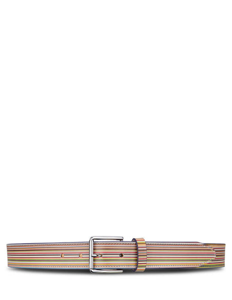 Men's Paul Smith Signature Stripe Belt in Multicoloured Leather. M1A-4952-AWIDEB-92