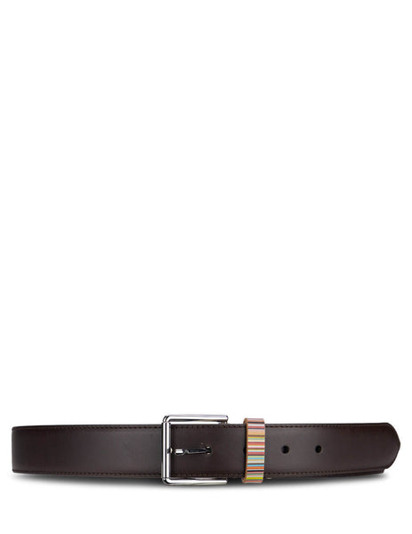 Men's Paul Smith Signature Stripe Keeper Belt in Chocolate Brown Leather. M1A-4950-AMULKB-66