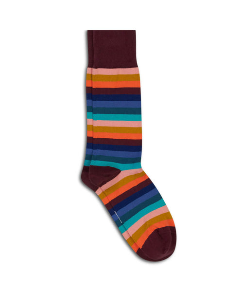 Paul Smith Men's Giulio Fashion Burgundy Simba Stripe Socks M1A380AAK97228