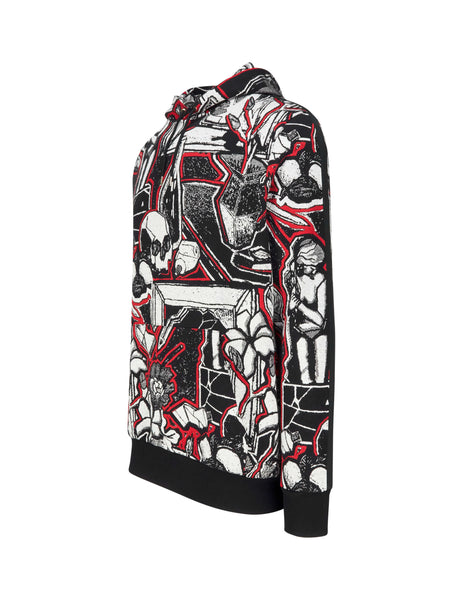 Paul Smith Men's Giulio Fashion Black Surreal Skull Print Hoodie M1R180TA0076672