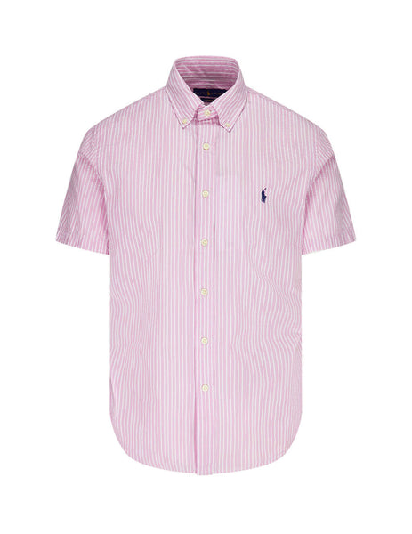 Polo Ralph Lauren Men's Giulio Fashion Pink Custom Fit Seersucker Shirt 710795250008