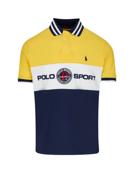 Polo Ralph Lauren Men's Chrome Yellow and Navy Custom Slim Fit Mesh Polo Shirt 710790855002