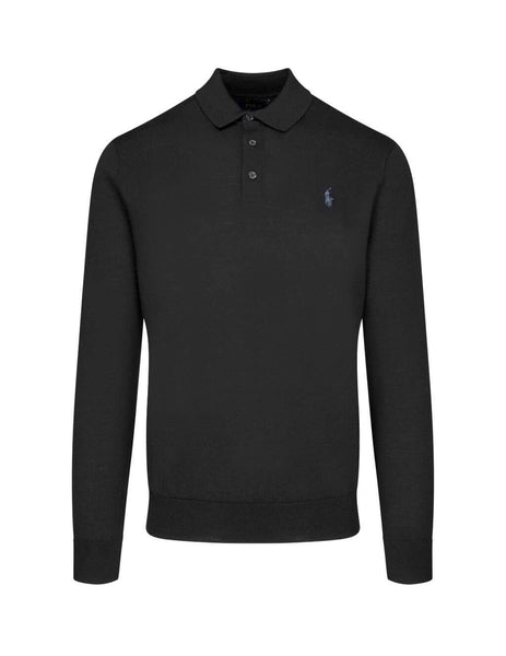 Polo Ralph Lauren Men's Giulio Fashion Black Knitted Polo Shirt 710716489003