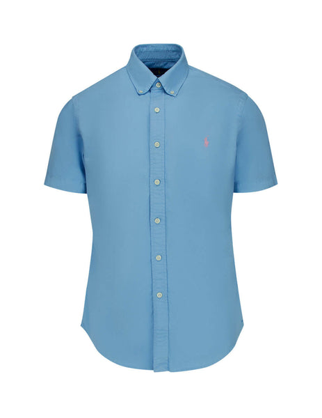 Polo Ralph Lauren Men's Blue Lagoon Short Sleeved Oxford Shirt 710795382002