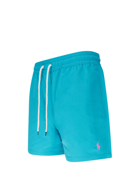 Polo Ralph Lauren Men's Giulio Fashion Deep Aqua Slim Traveller Swim Shorts 710795016002