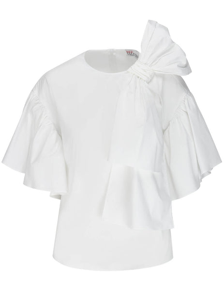 Women's Red Valentino Bow Detail Top in Optic White - VR3AAC000ES-001