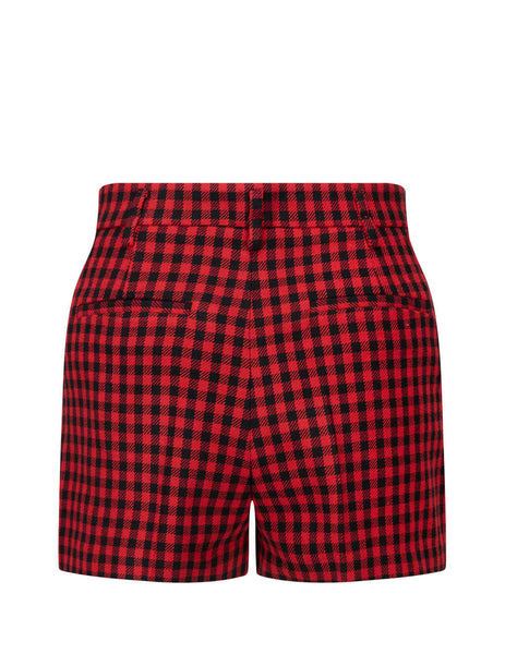 Women's Red and Black REDValentino Country Vichy Shorts UR3RFD3055V 38Z