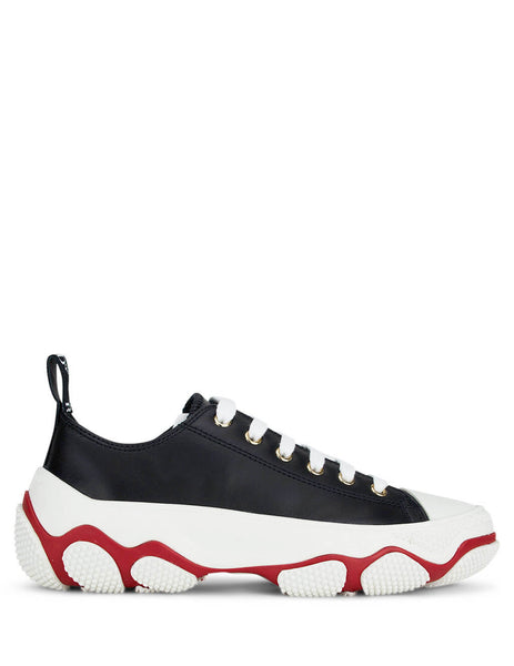 womens redvalentino leather glam run laced sneakers in black white and red UQ2S0D41QHR 0NO