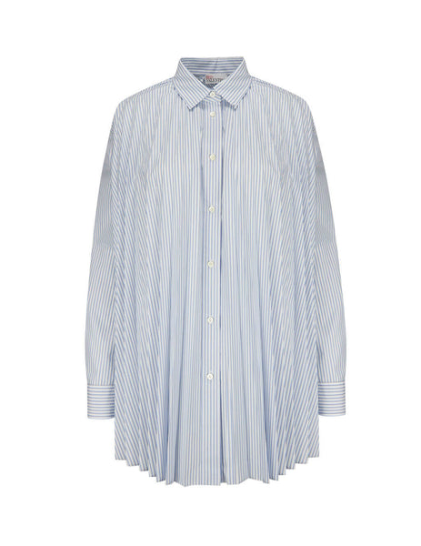 Women's REDValentino Striped Cotton Pleated Shirt TR3ABC104RDE34