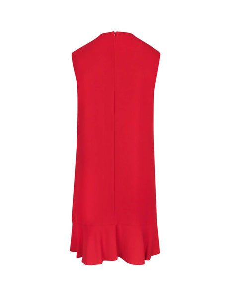 REDValentino Side Ruffle Crepe Dress SR3VAG050F1D05