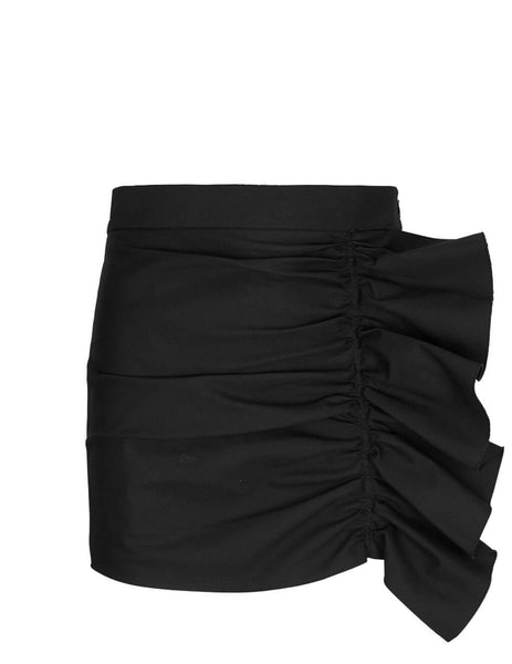 REDValentino Women's Giulio Fashion Black Armure Tech Shorts TR3RFC304R6 0NO