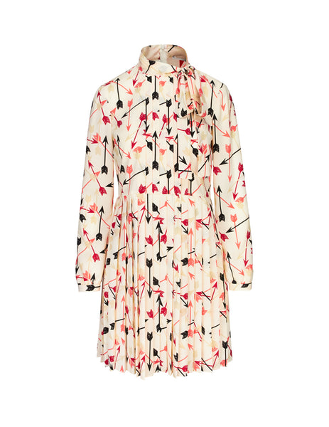 REDValentino Women's Giulio Fashion Latte Arrow Print Crepe Dress SR3VAF9049S031