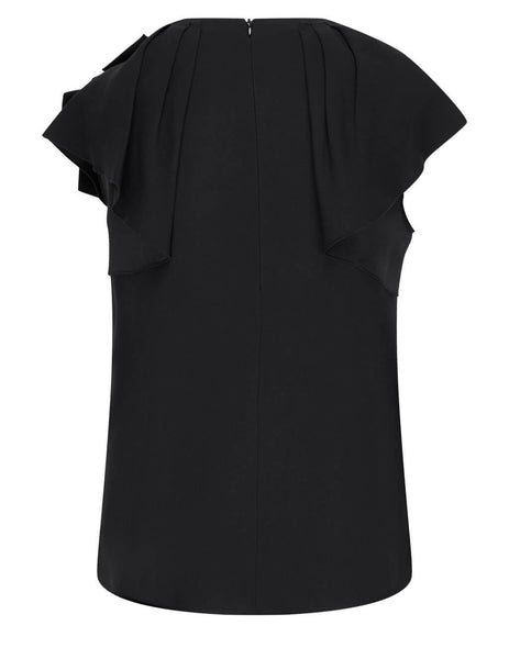Women's Red Valentino Bow Sleeve Top in Black - VR3AEC250F10NO