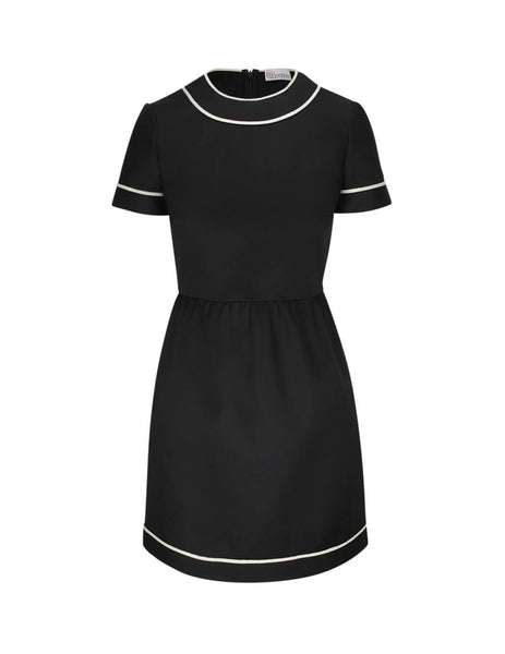 REDValentino Women's Giulio Fashion Black Cady Dress TR3VAM103M7 0NO