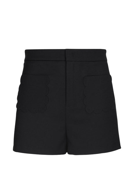 REDValentino Women's Giulio Fashion Black Cady Tech Shorts TR3RFC900VM 0NO