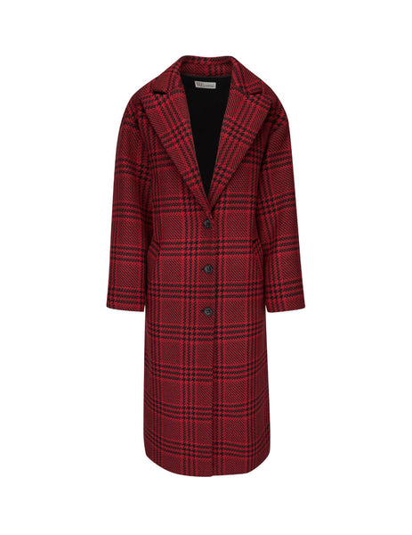 REDValentino Women's Giulio Fashion Lacca Checked Ruffle Coat SR0CAA954HJL58