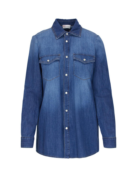 REDValentino Women's Giulio Fashion Light Blue Denim Shirt TR3DB00B4TW 568