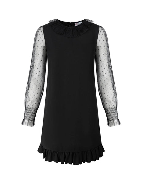 Women's Black REDValentino Dobby Sleeve Dress UR3MJ04X5C70NO