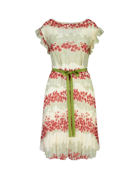 REDValentino Women's Giulio Fashion Cream Dreaming Peony Dress SR3VAF454A0031