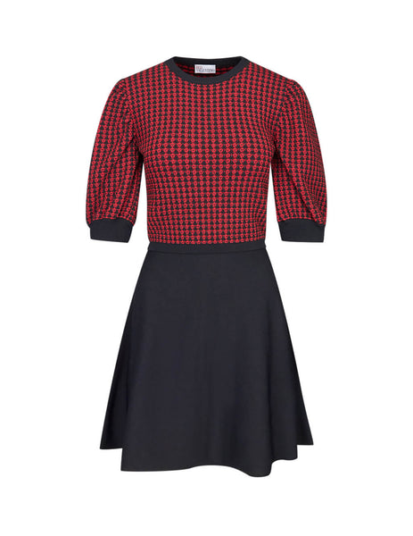 REDValentino Black/Red Knit Top Dress SR3KDA774GLJY8