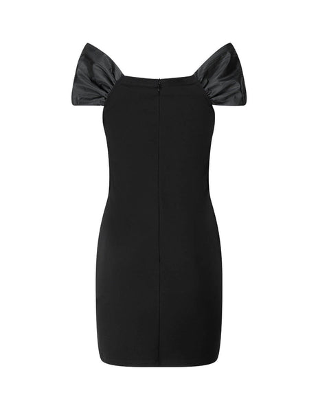 Women's Black REDValentino Faille Bow Dress UR3MJ04Y5C60NO