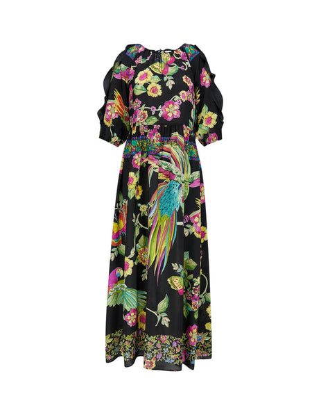 Women's Black REDValentino Floral Midi Dress TR0VAM55130NO