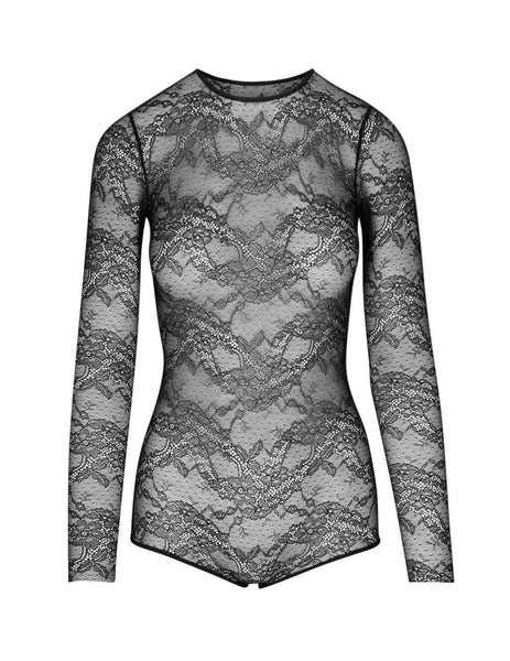 REDValentino Women's Giulio Fashion Black Lace Bodysuit TR3MC00H4YG 0NO
