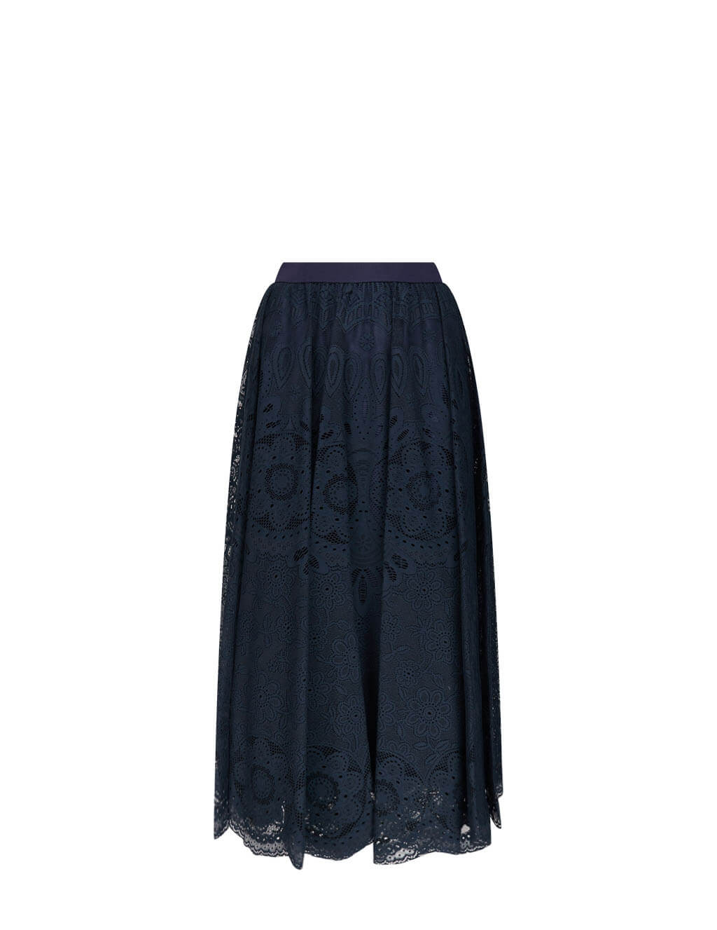 Women's REDValentino Lace Midi Skirt in Navy Blue - VR3RAD4050FB01