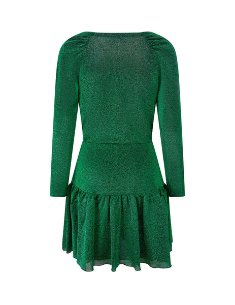 Women's Green REDValentino Lurex Peplum Dress UR3MJ04V5BUP15